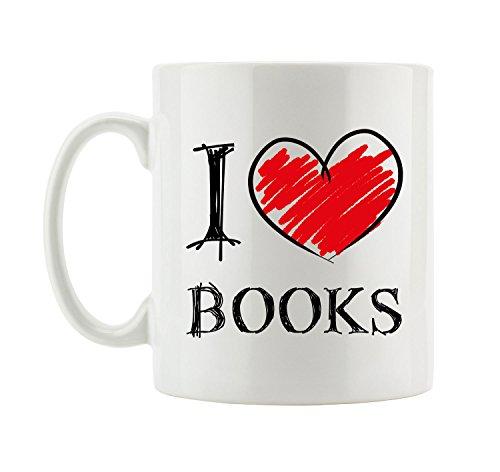 I love Books - Lustige Tasse mit Herz