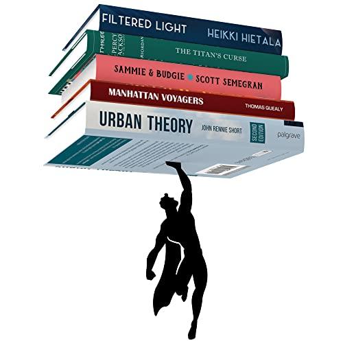 Artori Design Supershelf | Schwarzes Metall-Superhelden-Bücherregal | Verstecktes Regal | Einzigartiges Bücherregal | Geschenke für Geeks | Geschenke für Buchliebhaber | Cooler Buch-Stacker-Stopper