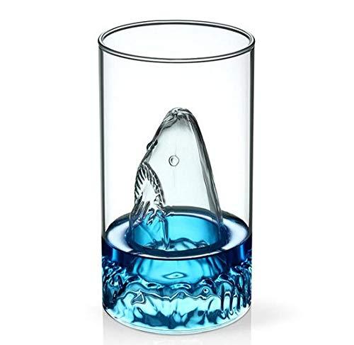 1Pc Transparente Glasschale Hai Glas Wein Milch Tee Wasser Frühstückstasse Tassen Doppelschicht Bar Weintrinkgeschirr