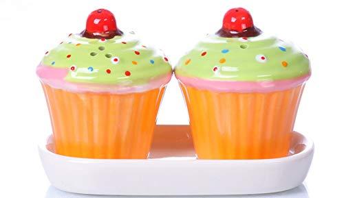 B2SEE LTD Keramik – Cupcakes - Salz und Pfefferstreuer - Geschenk - Küchentisch - Frühstückstisch - Set ca 11 x 8 x 7 cm