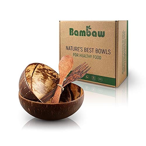 Kokosnuss Schale Set aus 2 Schalen mit Holzbesteck   Vegane Schüssel   Für Buddha Bowl und Acai Bowl   Holz Schalen Set   Bowl Set   Holz Schüssel   Schüssel Set   Coconut Bowl   Bambaw