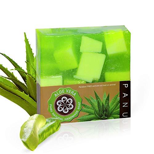 Panu Aloe Vera Seife – Vegane Duschseife für alle Hauttypen – Naturseife als festes Duschgel und festes Shampoo – Natürlicher Duschbrocken – Seife Stück Tierversuchsfrei