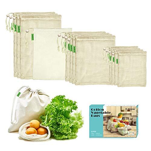 E-KNOW Gemüsebeutel aus Baumwolle,11er Set Obst und Gemüsebeutel Natural Mesh Baumwolle, Zero-Waste (3 Kleine, 4 Mittlere, 3 große, 1 Aufbewahrungstasche) MEHRWEG