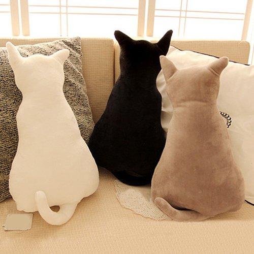 Homeofying Sofakissen in Form einer Katze, niedliche Tier-Silhouette, weicher Plüsch, schönes Geschenk für Zimmer von Mädchen und Jungen, Plüsch, Schwarz , 45 cm