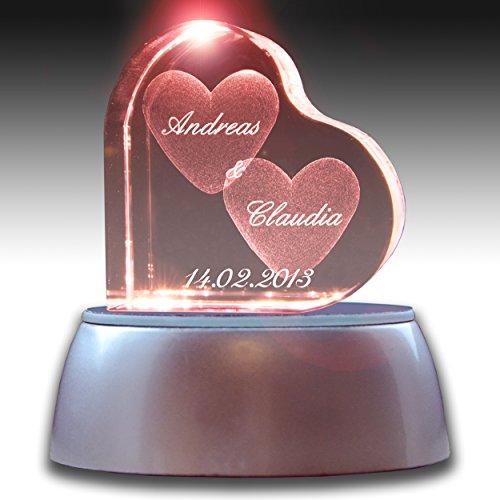 3Dglas Stimmungslicht LED Valentinstags Special | Herzform mit deiner Wunschgravur | GRATIS Leuchtsockel wechselnde Farben