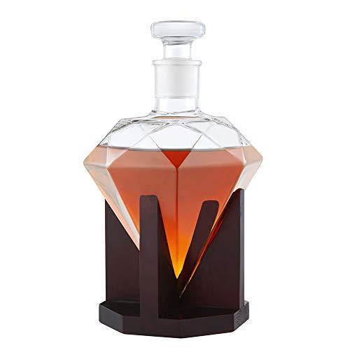 AMAVEL Whisky Karaffe in Form eines Diamanten – Dekanter mit luftdichtem Verschluss – Holz-Ständer – Klarglas – Decanter für Whiskey – Hergestellt in Handarbeit – 1000 ml