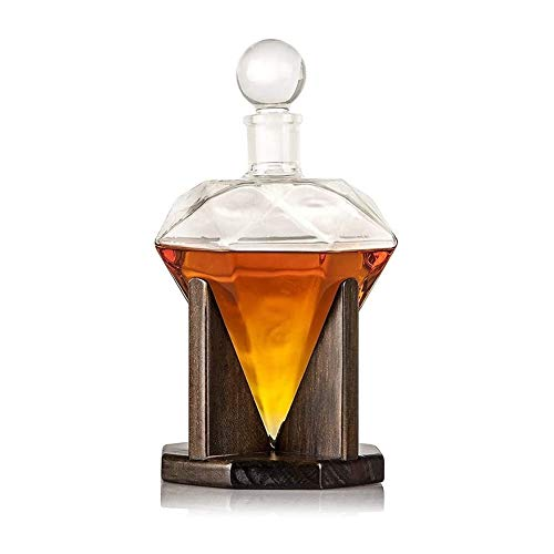 HLR Whiskey Gläser Set Whisky Karaffe Set Whiskey Decanter, Kreativer Diamant-Glas-Wein-Dekanter, for Alkohol, Scotch, Rum, Bourbon, Wodka-1000ml