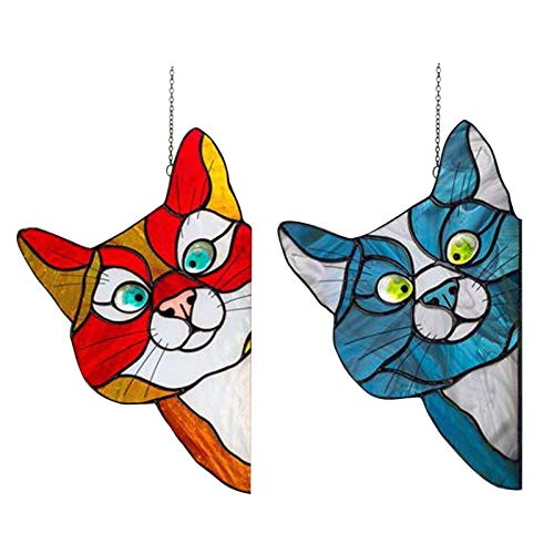 Dekorativgemaltes Fensterglas mit süßer Katze - Peeking Cat Stained Glass Window Hangings