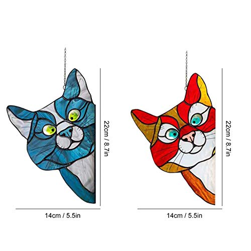 Peeking Cat Stained Glass Window Hangings, Decorative Hand Painted Stained Glass Window In A Kitten Design,See-Through Vinyl Window Decal Stained Style,8.9×5.5 Inch - 2