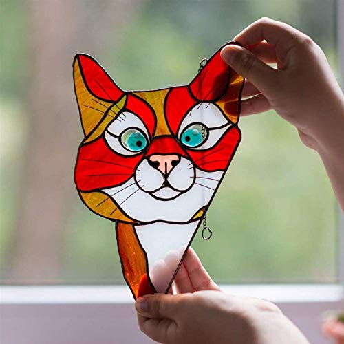 Peeking Cat Stained Glass Window Hangings, Decorative Hand Painted Stained Glass Window In A Kitten Design,See-Through Vinyl Window Decal Stained Style,8.9×5.5 Inch - 3
