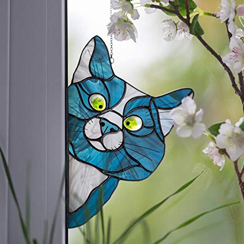 Peeking Cat Stained Glass Window Hangings, Decorative Hand Painted Stained Glass Window In A Kitten Design,See-Through Vinyl Window Decal Stained Style,8.9×5.5 Inch - 4