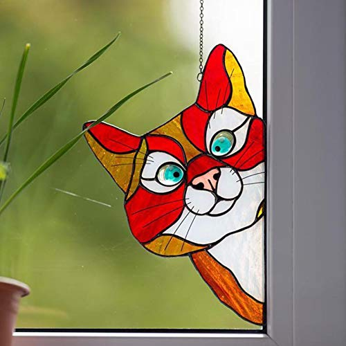 Peeking Cat Stained Glass Window Hangings, Decorative Hand Painted Stained Glass Window In A Kitten Design,See-Through Vinyl Window Decal Stained Style,8.9×5.5 Inch - 5