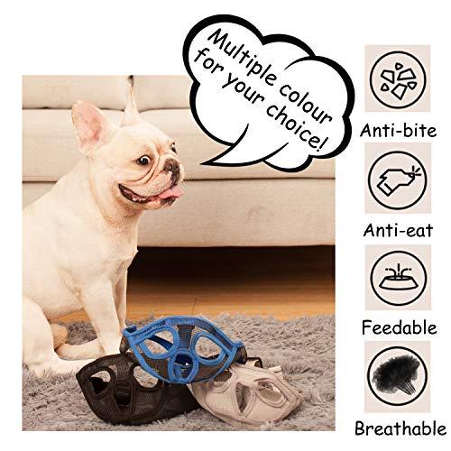 ILEPARK Maulkorb für Hunde mit kurzer Schnauze, Bulldogge Maulkorb Anti-Beißen, Kauen, Bellen, Hundemaske.(M,Schwarz) - 2