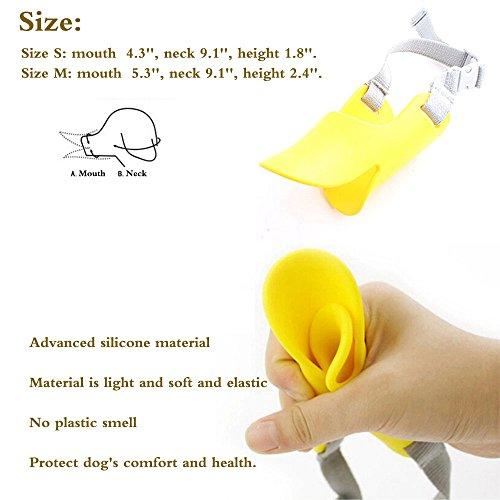 HongYH Entenschnabel-Mundschutz für Hund, Mundschutz, Bissschutz / Maulkorb, bissfest, für kleine Hunde, Gelb - 4
