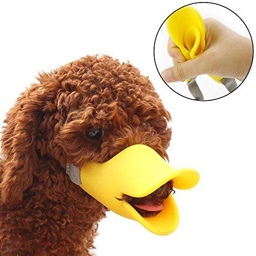 HongYH Entenschnabel-Mundschutz für Hund, Mundschutz, Bissschutz / Maulkorb, bissfest, für kleine Hunde, Gelb - 7