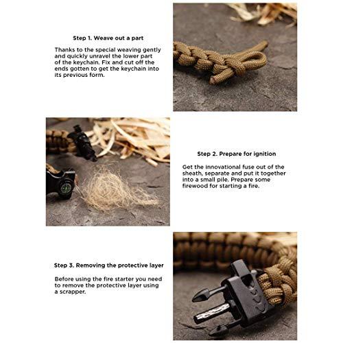 EDCX Survival Nylon Armband Fire-Starting Tool Flaming Lizzard (M Size -19-20 cm) (Black, M) - 7