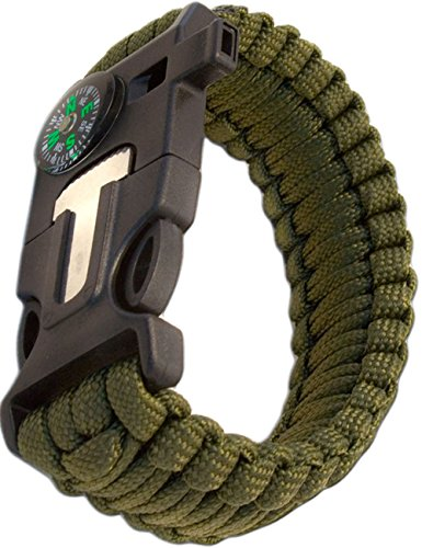 Outdoor Saxx® - 4-in-1 Outdoor Survival Multi-Tool Paracord Überlebens Armband, Kompass, Pfeife, Schaber, Messer, olivgrün
