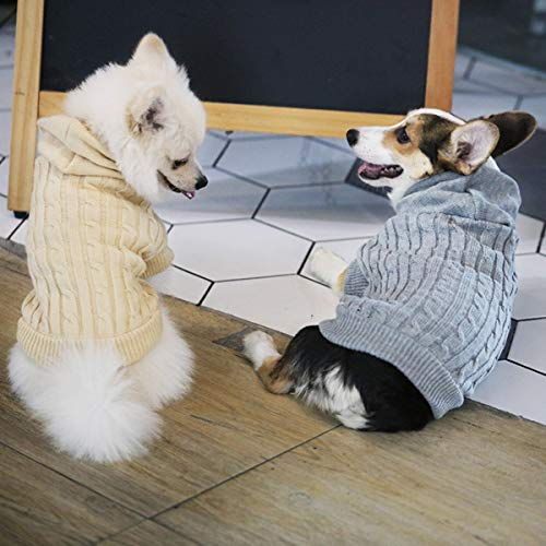 ubest Hundepullover, Hundemantel, Sweater Gestrickter Pullover mit Kapuze für Kleine Hunde, Hund Katze Pullover für Herbst Winter, Beige, S - 5