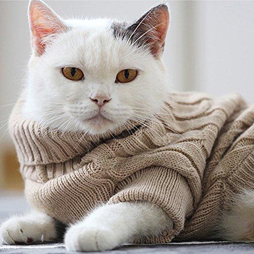 ubest Hundepullover, Hundemantel, Sweater Gestrickter Pullover mit Kapuze für Kleine Hunde, Hund Katze Pullover für Herbst Winter, Beige, S - 7