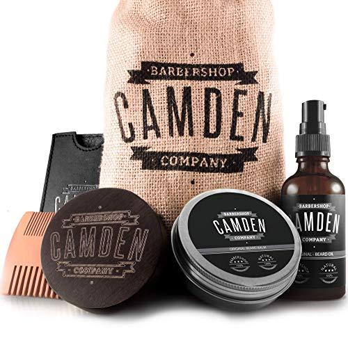 Bartpflege-Set von Camden Barbershop Company ● 100% Natürlich ● inkl. Bart-Öl, Bartwachs, Bartbürste, Bartkamm & eBook ● Geschenk-Set für Männer