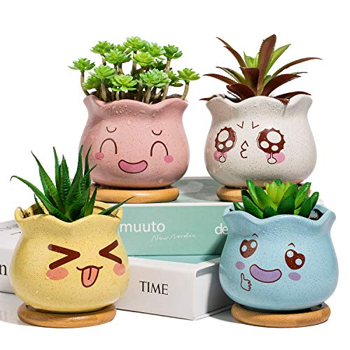 Yangbaga Mini Blumentöpfe mit Untersetzer, Keramik für Sukkulenten, Dekorvase Sukkulenten Töpfe Kaktus Pflanze Töpfe mit Bambus-Untersetzer, 4 Farben Set, (Weiß, Rosa, Gelb, Blau)
