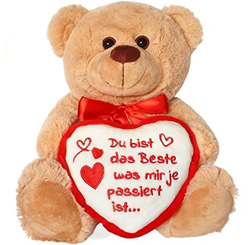 matches21 Teddybär Teddy mit Herz DU BIST DAS Beste Hellbraun beige 25 cm DAS ORIGINAL Geschenkidee Klassiker Partner Freundin Valentinstag