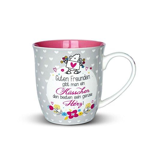 """Sheepworld 44399 Tasse mit Spruch """"Guten Freunden gibt man ein Küsschen"""", Porzellan, 60 cl, Geschenk-Artikel"""