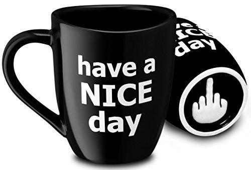 Decodyne Kaffeetasse mit Mittelfinger auf der Unterseite, 400 ml schwarz … (Day)