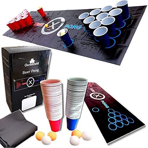 Gartenheld© Beer-Pong Trinkspiel Matte (180 x 60 cm) KOMPLETT-Set inkl. 22 x Cups 473ml Becher rot / blau, 6 x Bälle und Regelwerk / Spielregeln - Für draussen und drinnen (Beer-Pong)