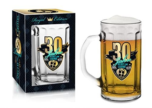 Abc Casa Bierkrug 0,5l mit originelles Aufschrift zum 30. Geburtstag für Männer - Der Beste Biertrinker der Welt 30 Jahre - praktisches verwendbares Geschenk für 30-Jährige im Geschenkbox
