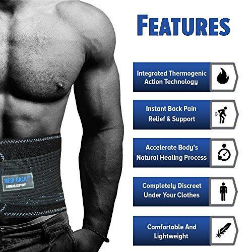 Medi-Back Lordosenstütze Brace mit integrierter Thermal Aktion - Sofortige Schmerzlinderung und Unterstützung für den unteren Rücken! - 2