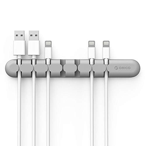 ORICO Adhesive Desktop Cable Fixer, Cable Management System, Cable Holder,Desktop Cord Holder, Hider, Charging Cable Drop Organizer for TV PC Laptop Home Office (Grey)