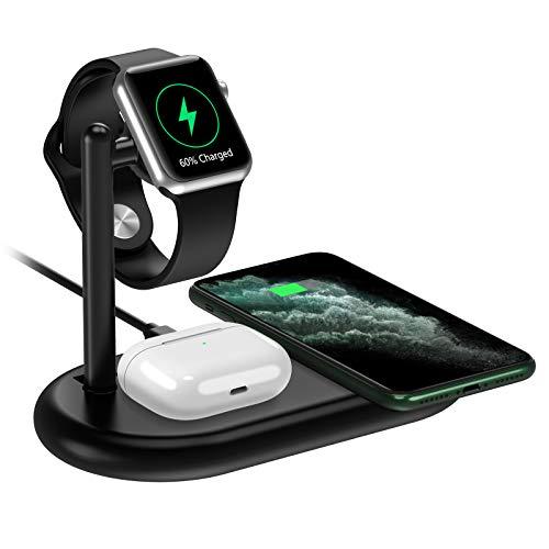 yootech 3 in 1 Kabelloses Ladegerät, 7,5W Wireless Charger für iPhone SE 2020/11/Pro Max/XS/X/8, Galaxy S10 usw, 2,5W Qi Ladestation für AirPods Pro, Apple Watch (kein iWatch Ladekabel und Netzteil)