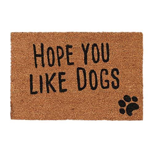 Relaxdays, Natur Fußmatte mit Spruch, Hope You Like Dogs, Hundemotiv, Kokosfasern, Außen und Innen, Fußabtreter 40x60 cm, Standard