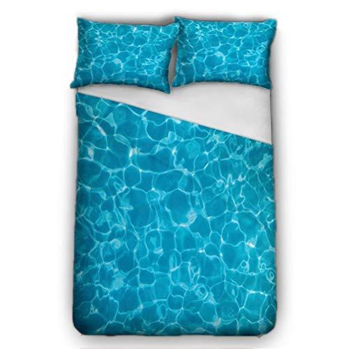 Blau Schwimmbad Wasser Bettbezug Bettwäsche Set - Bettbezug und Kissenbezug, dreiteiliger Bettwäsche 150x200 (Bettbezug + 2 Kissenbezüge) feuchtigkeitsfest, Hypoallergen,Geeignet für Einzelbetten