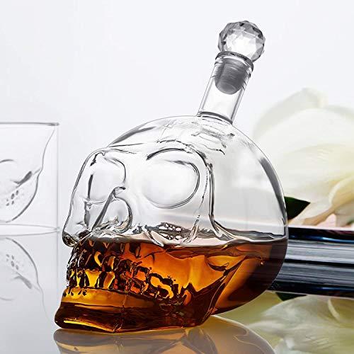 amzdeal Skull Glas Flasche, Totenkopf Flasche 700ml mit 6 Schädel Gläser 75ml, Schädelflasche mit Whisky Vodka oder Schnapsgläser - 7