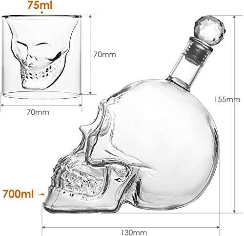 amzdeal Skull Glas Flasche, Totenkopf Flasche 700ml mit 6 Schädel Gläser 75ml, Schädelflasche mit Whisky Vodka oder Schnapsgläser - 3