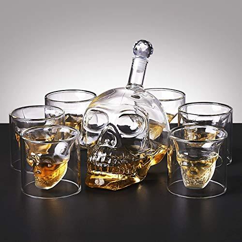 amzdeal Skull Glas Flasche, Totenkopf Flasche 700ml mit 6 Schädel Gläser 75ml, Schädelflasche mit Whisky Vodka oder Schnapsgläser - 6