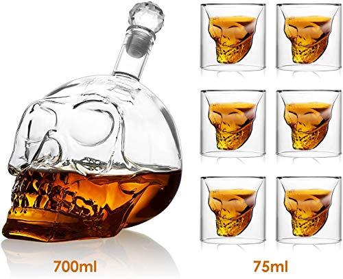 amzdeal Skull Glas Flasche, Totenkopf Flasche 700ml mit 6 Schädel Gläser 75ml, Schädelflasche mit Whisky Vodka oder Schnapsgläser - 2