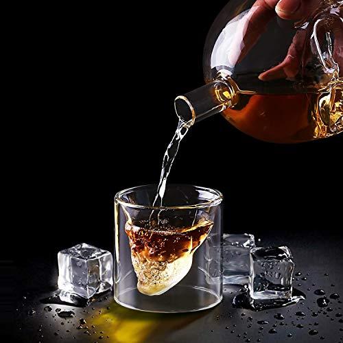 amzdeal Skull Glas Flasche, Totenkopf Flasche 700ml mit 6 Schädel Gläser 75ml, Schädelflasche mit Whisky Vodka oder Schnapsgläser - 4
