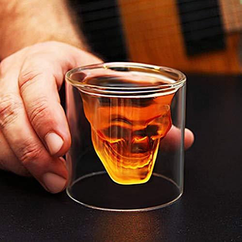 amzdeal Skull Glas Flasche, Totenkopf Flasche 700ml mit 6 Schädel Gläser 75ml, Schädelflasche mit Whisky Vodka oder Schnapsgläser - 5