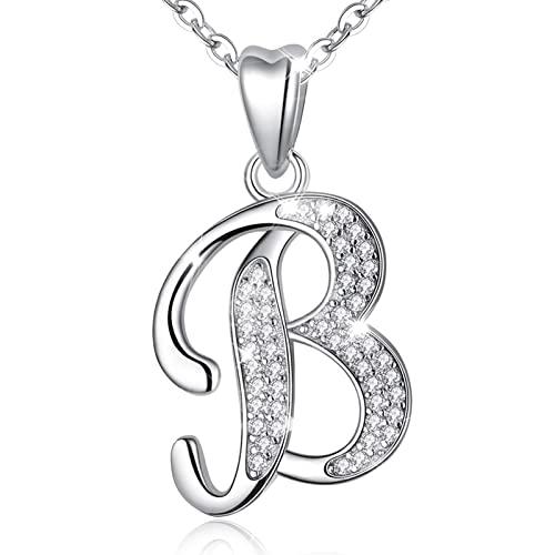 AEONSLOVE Damen Buchstaben Kette Silber Halskette Buchstabe B Kette Mit Buchstaben Brief des Alphabets Initiale Anhänger mit Zirkonia Schmuck Geschenk für Mädchen