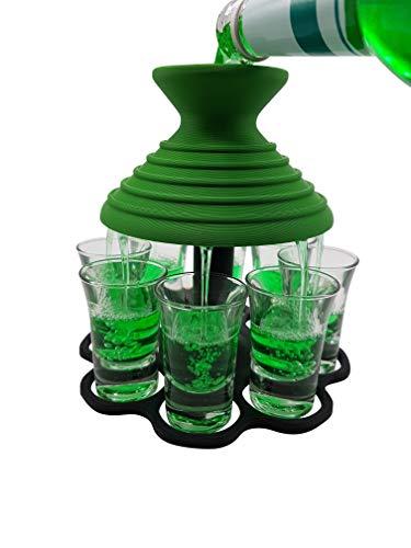 Schnapsschirm Dein schneller Schnapsausgießer für 8 Pinnchen GLEICHZEITIG Geschenkidee - Gadget - Partyspaß - Trinkspiel - Schnaps-Verteiler - Schnapshalter - Trichter (Grün/Schwarz)
