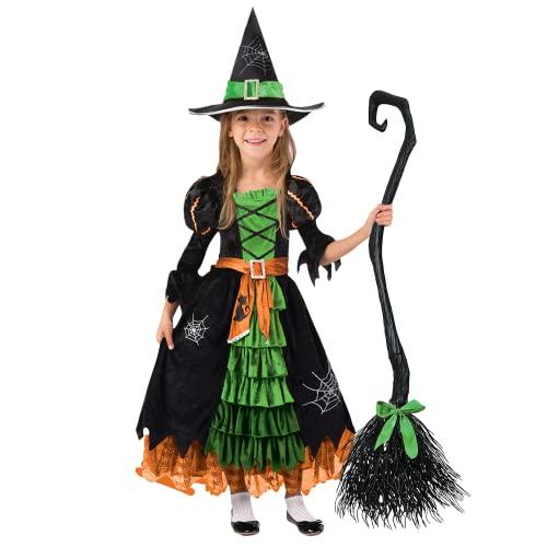 Spooktacular Creations Grün Hexe Kostüm, Hexenkostüm, Karneval Fasching Bekleidung, 3-teiliges Halloween Kostüm Deluxe Set für Mädchen (Toddler, Green)