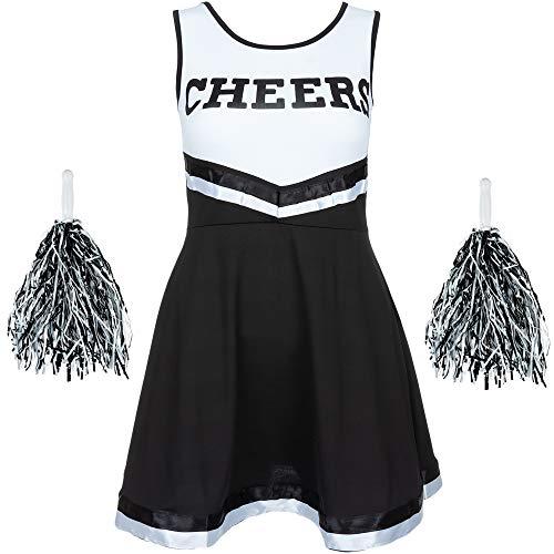 Redstar Fancy Dress - Damen Cheerleader-Kostüm - Uniform mit Pompons - Halloween, American High School - 6 Größen 34-44 - Schwarz - S