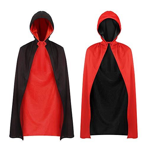 Vampir Kostüm Kinder Umhang Kapuzenumhang Doppelseitiger Schwarz Rot Umhang für Halloween Cosplay Party Piraten Kostüm Umhang, 90cm