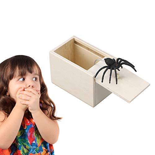 STOBOK Spinne Überraschung Streich Holz Angst Box Witz Spielzeug Narren Day Box für Erwachsene Kinder (White Board, Spinne) - 4