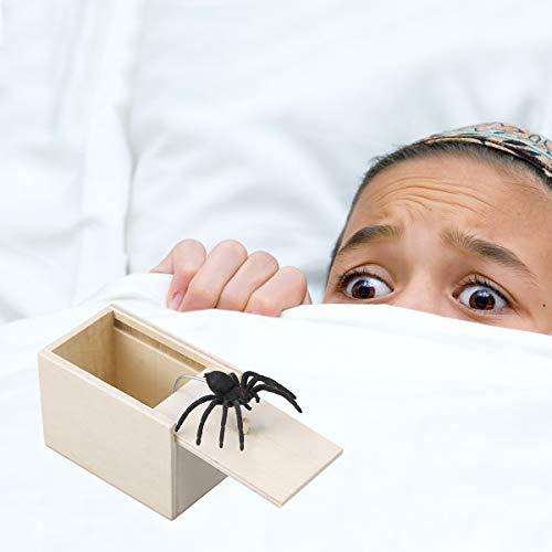 STOBOK Spinne Überraschung Streich Holz Angst Box Witz Spielzeug Narren Day Box für Erwachsene Kinder (White Board, Spinne) - 6