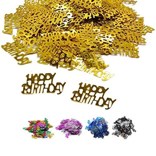 DIWULI, Happy Birthday Konfetti Gold, Geburtstags Tisch-Konfetti, Tisch-Deko, Glitter, goldene Geburtstags-Deko Streudeko für Geburtstagsfeier, Motto-Party, Dekoration, Geschenk-Deko, DIY, basteln