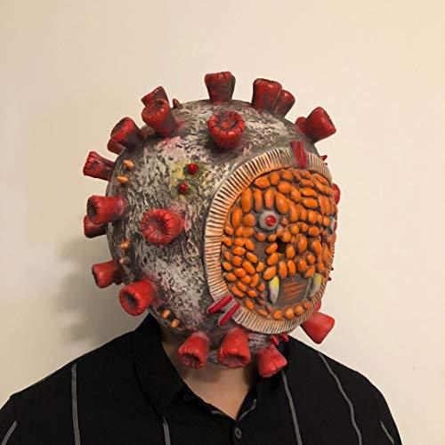 thematys Corona Bakterium Maske in 7 verschiedenen Designs - perfekt für Fasching, Karneval & Halloween - Kostüm für Erwachsene - Latex, Unisex Einheitsgröße (Style 1) - 3